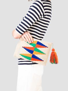 Diamante Wayuu Clutch Natural & Multi - crochet inspo