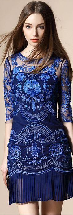 Royal Blue Pockets Dress
