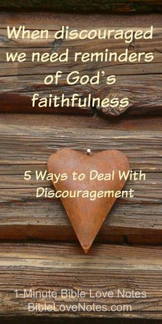 5 Ways to Deal With Discouragement. This 1-minute devotion gives 5 things we can do to overcome discouragement, depression, and despair. Psalm 77 shows that the Psalmist also suffered from these feelings..