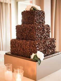 Dark Wedding Cakes A Three-Tier Wedding Cake Covered in Chocolate Shavings. Maybe this but a round c Beautiful Wedding Cakes, Gorgeous Cakes, Pretty Cakes, Amazing Cakes, Dream Wedding, Wedding Vows, Purple Wedding, Wedding Rings, Cake Wedding