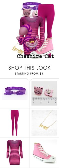 """""""Cheshire Cat (A Disney-Inspired Outfit)"""" by one-little-spark ❤ liked on Polyvore featuring Converse, Disney, disney, disneybound and DisneyAlice"""