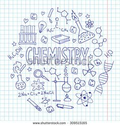 Hand drawn vector set with school  equipment. Can be used for design. Chemistry lesson