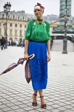 Feminine, vintage inspired look with gorgeous YSL Cherry Shoes. Paris. Via Streetpeeper. Streetstyle