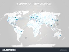 Communication world map vector