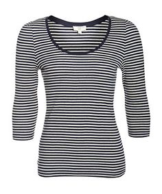 Blue Pattern (Blue) Navy Stripe 3/4 Sleeve T-Shirt | 262177349 | New Look