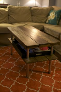 Coffee table from scratch! (Made this for my aunt as a bedside table. I suggest putting rubber feet. Otherwise, awesome.)