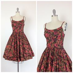 ** RESERVED RESERVED RESERVED ** ** 50% now - 50% in 2 weeks **  So absolutely in love with this vintage rose print dress set from the 50s. Made out of medium weight cotton. Stellar brown background with painterly roses throughout. Highlighted with back ric-rac along the neckline and skirt hem. Fabulous fit & flare cut with full skirt. Side metal zip. Perfect for spring, summer or fall.  | c o n d i t i o n | good - some wear to the fabric along the waistline. see last photo for referenc...