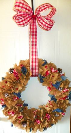 My Blue Jean/ Gingham winter Burlap Wreath with bow that I made.