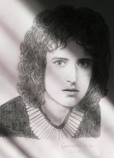 Brian May (Queen) pencil drawing (portrait) by Gabriella Tóth