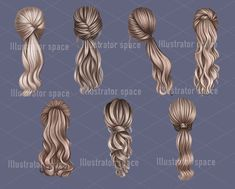 Up Hairstyles, Braided Hairstyles, Step By Step Hairstyles, Hair Clipart, Girl Hair Drawing, Jugend Mode Outfits, Hair Png, Hair Up Styles, Hair Sketch