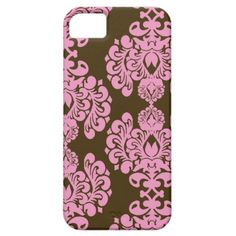 Brown and Pink Damask Pattern iPhone 5 Case