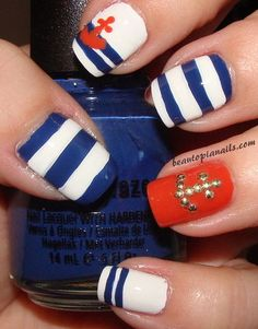 Nautical Nails - from The Sparkle Queen #nails #nailart #nailpolish #manicure