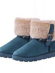 Синий / Коричневый - Женская обувь - На каждый день - Искусственный мех - На плоской подошве - Теплая зимняя обувь - Ботинки