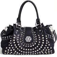 Designer INspired Western Studded Handbag w/ Rhinestones & Croco Trim - Black $53.99 + Free Shipping! wantedwardrobe.net wantedwardrobe.com #shop #fashion #handbags #wantedwardrobe #western