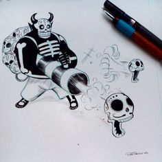 #inktober day 02. I don't use and I don't like to draw guns, but this guy shoots nostalgia in a shape of skulls :D #inktober2015 #inktober2go