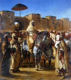 """Eugène Delacroix spent some time in Morocco painting and drawing life there which gives an important view into old Morocco. Beyond Delacroix, there are very few images of this country before the """"The Sultan of Morocco and His Entourage"""", Black History, Art History, Eugène Delacroix, William Turner, Sultan, Foto Art, Moorish, African American History, Canvas Prints"""