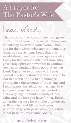 A Prayer For The Pastor's Wife ---