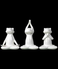 Look what I found on #zulily! Yoga Ceramic Frog Set #zulilyfinds