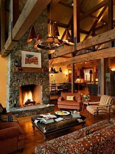 Rustic Fireplace. So cozy.