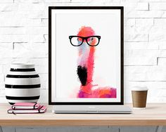 Smarty Feathers -- Watercolor Flamingo Print -- Home Decor