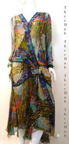 Breathtaking Vintage 1920s 30s Art Nouveau Neptune Silk Print Bead Wedding Dress