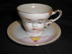 Vintage 1940s Lenwile Ardalt Japan Tea Cup and Saucer With Face On It. looks like Bailey's teacups that came out 2000