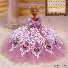 Annies Attic Royal Ballgowns Crochet Pattern, Miss September 1998, for Barbie Fashion Dolls, Like New