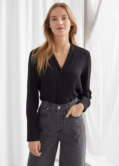 V-Neck Button Up Blouse - Black - Blouses - & Other Stories Fashion Story, Fashion Outfits, Black Button Down Shirt, All Black Outfit, Black Tops, Clothes For Women, Long Sleeve, How To Wear, Blouses