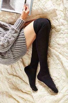 Boot socks: Ribbed-Cuff Over-The-Knee-Sock - Urban Outfitters! Half Socks, Thigh High Socks, Thigh Highs, Knee Socks Outfits, Urban Outfitters, Over The Knee, Cheap Socks, Foto Casual, Billie Eilish