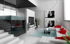 white-living-room-modern.  I love this!  Probably the architecture, steps, light, high ceilings... and then the furniture...  oolala