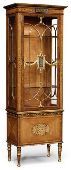 493585 in by Jonathan Charles in Sacramento, CA - Narrow satinwood display cabinet with eglomise details