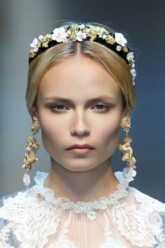 """Headbands, like the ones at Dolce & Gabbana, add an instant """"it"""" factor to a sleek style. http://birch.ly/VhmAPh"""