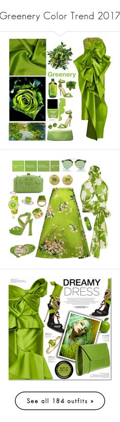 """""""Greenery Color Trend 2017"""" by yours-styling-best-friend ❤ liked on Polyvore featuring Cece Cord, Butter London, Marchesa, Gianvito Rossi, Miu Miu, Valentino, Christian Dior, Versus, Oreste Dalben and Allurez"""