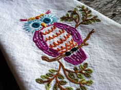 Owl hand embroidered towel