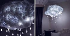 Bring the fanciful fluffiness of a cloud indoors with a DIY cloud light. When complete, it looks just like a cloud and best of all, won't break the bank.