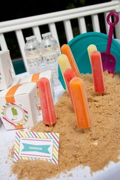 Popsicles in cookie crumb sand! #summer #popsicles