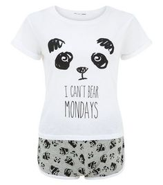 Teens Black Panda I Can't Bear Mondays Print Pyjamas Set