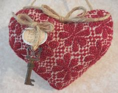 Primitive VALENTINE Heart Vintage Red Woven Coverlet Heart KEY TO MY HEART  #NaivePrimitive #artist