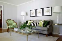 Looking for a stylish sitting room? Traditional pieces are modernised with greens and greys by designer Camilla Molders. Visit www.myhuntergatherer.com to create the look or find details on the designer. Camilla Molders Formal Living Room