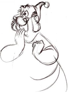 ✶ Mr. Smee seems to be worried about something. [from the first drawing done by Frank Thomas in the development of the characters for Peter Pan] ✏️☠⚓️★