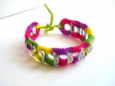 Rainbow crocheted poptop soda can tab bracelet