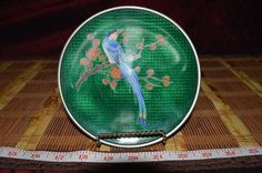 """Asian Green Plastic over Silver and Enamel Floral w/ Bird Plate 6"""" Round"""