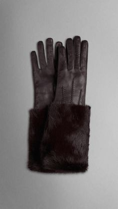 Burberry | Mink Detail Leather Gloves #burberry #gloves