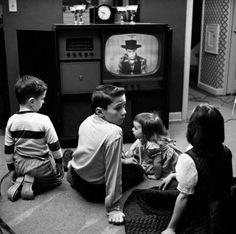 Children watching TV - 1956