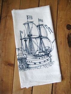 Screen Printed Organic Cotton Nautical Flour by ohlittlerabbit, $10.00