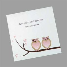 """Cute """"owls in love"""" wedding invitations which feature two owls sitting on a branch. Can be printed in many colours. www.kardella.com"""
