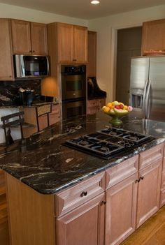 Find the newest extraordinary images ideas especially some topics related to granite kitchen island table only. Black Granite Kitchen, Dark Granite Countertops, Maple Kitchen Cabinets, Outdoor Kitchen Countertops, Kitchen Island Table, Kitchen Cabinet Design, Kitchen Backsplash, Spice Cabinets, Epoxy Countertop