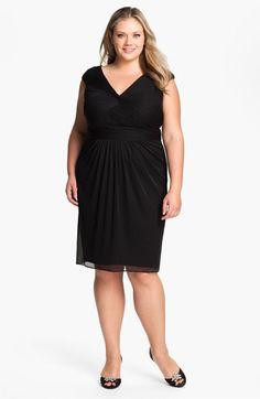 Adrianna Papell Twist Front Mesh Dress (Plus)