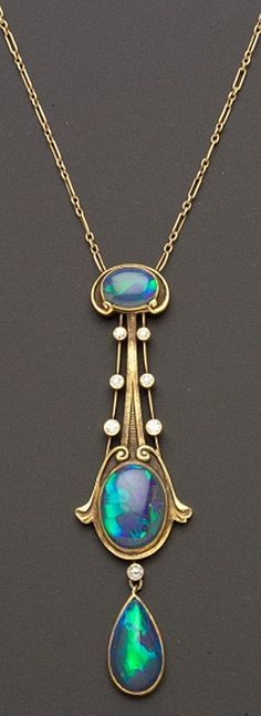 Art Nouveau Black Opal & Diamond Pendant The Brassler Company
