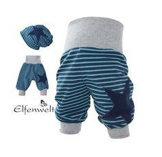 """Öko+Pumphose+""""Stripes""""+blau-hellblau+Wunschgröße+von+Elfenwelt+auf+DaWanda.com"""